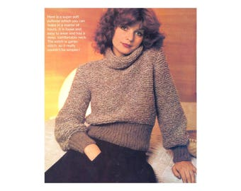 Knit Cowl neck Sweater - Vintage Knitting pattern