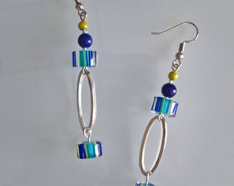 Blue/yellow dangle earrings
