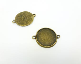 2 connectors round supports for cabochons 20mm brass 29 * 23mm (8SSC05)
