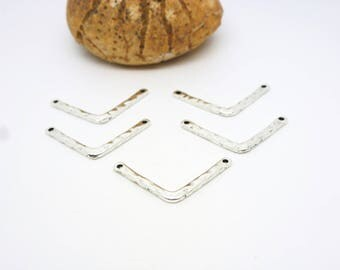 5 connectors geometric Chevron 25 * 11mm hammered Silver (8SCA34)