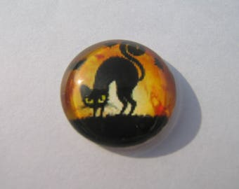 Cabochon 20 mm round domed with halloween cats image