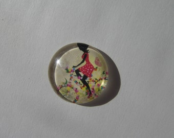 Beautiful cabochon 25 mm round domed with his wife on her bike face image