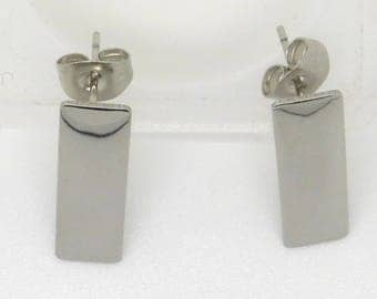 Earrings, stainless steel, rectangular, pierced
