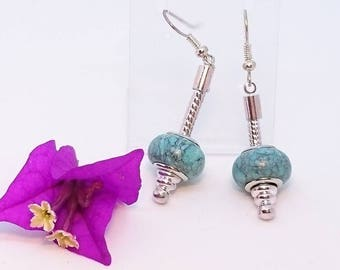 "Earrings ""Les waters turquoise of Catalina"" Turquoise Pandora style large hole silver mounted on rods and ss nickel."