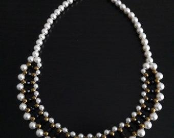 Rhinestone & Pearl bib necklace