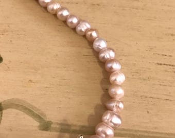 Sterling Silver Sand-dollar Charm Pink Fresh Water Pearl Bracelet