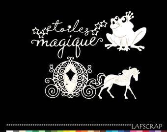 cut-out Scrapbook frog Crown Princess horse carriage Word star magic cutting paper die cut embellishment