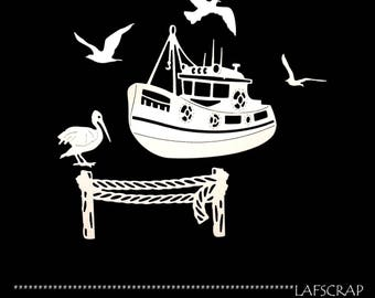 scrapbooking scrap cut-outs set pelican fishing trawler boat animal sea cutting paper die cut embellishment