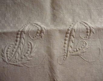 vintage large table towel with 2 monograms to identifiy ( french )