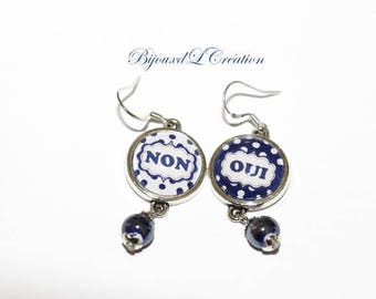 Funny glass yes no Stud Earrings