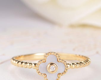 Mother of Pearl Ring Gold Engagement Ring Flower Floral Unique Bezel Set Diamond Lucky Clover Full Eternity Friendship Graduation Gift