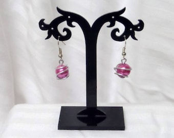 Wedding earrings Pearl Pearly pink and aluminum wire