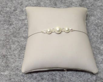 "Ceremony wedding bracelet ivory pearls and Bohemian crystal ""JADE"""