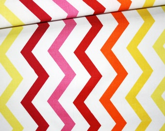 Colorful chevron, 100% cotton fabric printed 50 x 160 cm pattern zig zag chevron bright colors