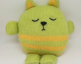 Yellow and green striped cat Plushie