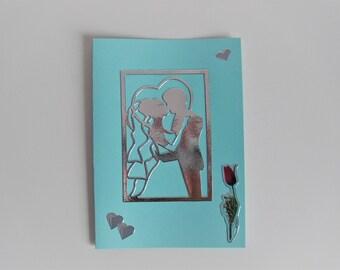 Silver / blue wedding card (congratulations, thanks, ...)