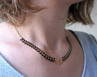 Black Spike and gold hoop chain necklace