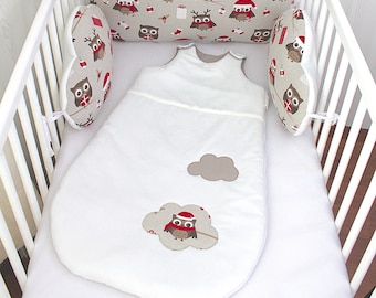 Sleeping bag 1-8 months, cotton white off-white, taupe, with an OWL