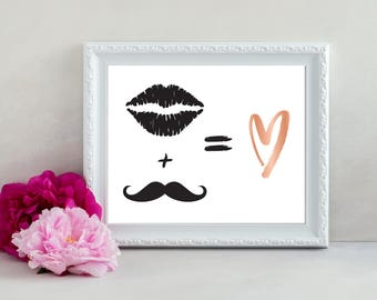 Wedding Symbol Sign, Lips and Mustache Sign, Love Sign, Heart Sign, Wedding Heart Sign, His and Hers Sign, Mr and Mrs Sign, Wedding Sign