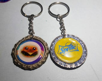 Super rare burguer keychain. upcycled Sprite bottle caps. Fast food  kawaii cute original gift ziper pull