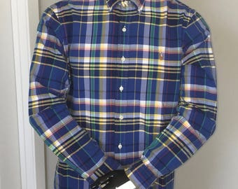 Polo Ralph Lauren-Oxford Long Sleeve Button Down-Blue Plaid