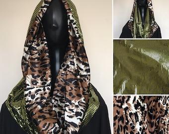 Festival Hoodie   Infinite Scarf   Cowl Neck Hood   Green Dot Sequin   Velvet Leopard Animal Print