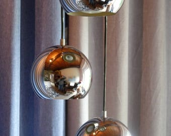 Vintage hanging metal globes Triple chrome plated 3 ball chandelier 70s / 1970