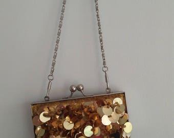Evening bag Gold Sequin long strap