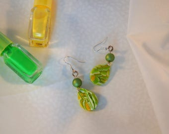 Earrings drop shape Lime yellow white and Green Pearl soft satin, yellow green earrings, women gift, onyx drop earring