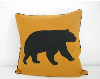 BEAR pillow 40 X 40 cm - mustard and black cover