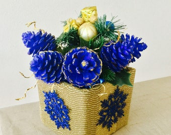 Decorative Blue Pine cone arrangement