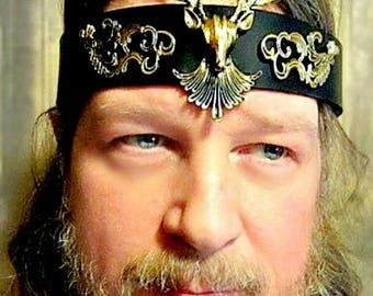 Stag Headpiece, Cernunnos, Yule Crown, Renaissance Stag Circlet, Leather Headband, Burning Man,