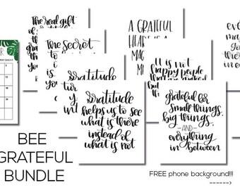 Bee Grateful Bundle, Gratitude, Gratitude Activities, Digital Downloads, Gratitude Quotes, gratitude practice, gratitude journal,