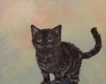 Smoke Anyone?; smoke kitten; shaded black kitten; kitten art; nursery art; kitten decor; kitten lover art; smoke kitten gift; kids room art
