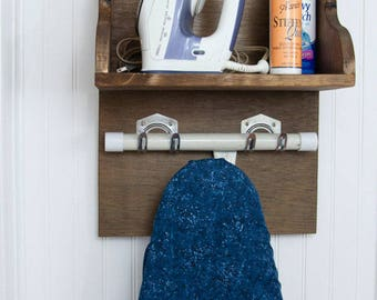 Ironing board holder storage shelf choice of colors