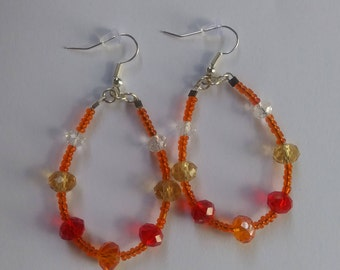 Orange and Red Earrings/ Teardrop Earrings/ Red Beaded Earrings/ Orange Bead Earrings