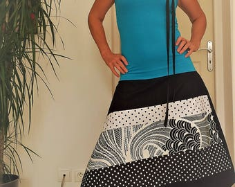Combi harem 4 in 1 Jersey Turquoise / black cotton / black and white /paon polka dots