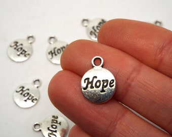 Round Silver 'Hope' Charm, Silver Coloured Charm 15 x 12mm