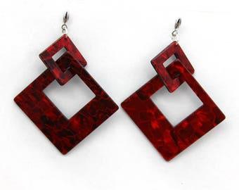 "Earrings ""Red marbled diamond embedded"" Oversized"