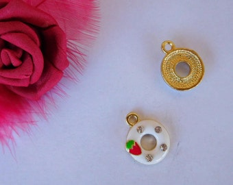 """Set of 2 """"donut"""" Golden charms and rhinestones"""