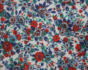 1960's retro red and blue ditsy flowers floral fabric piece  vintage remnant destash
