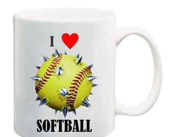 Love spikiesoftball coffee mug,I love softball coffee mug, softball dad coffee mug, softball mom coffee mug, softball is life coffee mug