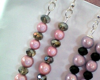 Magic beads and Crystal dangling earrings Roses - h 8 cms