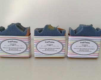 Rainbow soap // fruit fusion // Handcrafted soap // cold processed soap // bathroom decor // bathroom necessities // gifts for kids