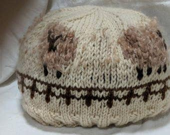 very special hand-knitted sheep hat