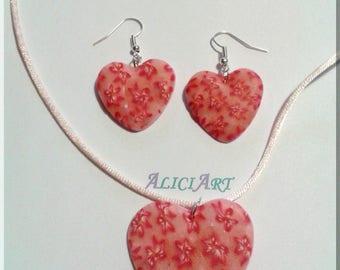 Necklace - Heart fields of red flowers earrings