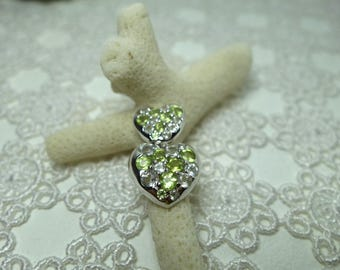 Green amethyst hearts and peridot heart/heart pendant