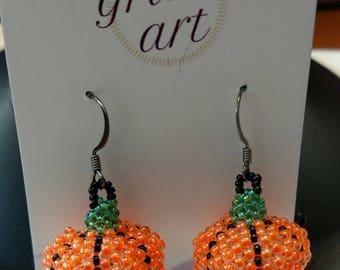 Beaded Pumpkin Earrings