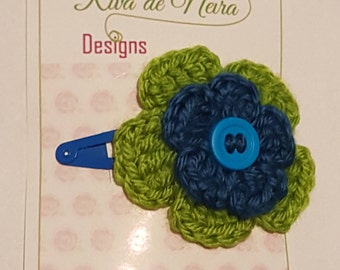 blue and green flower hair clip