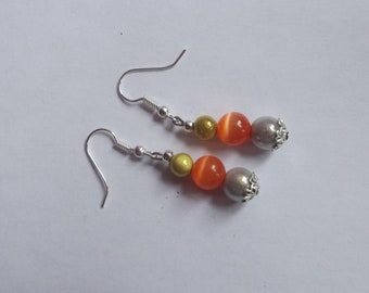 Earrings silver dangle hooks made of 4 beads (silver, yellow, orange and ivory)